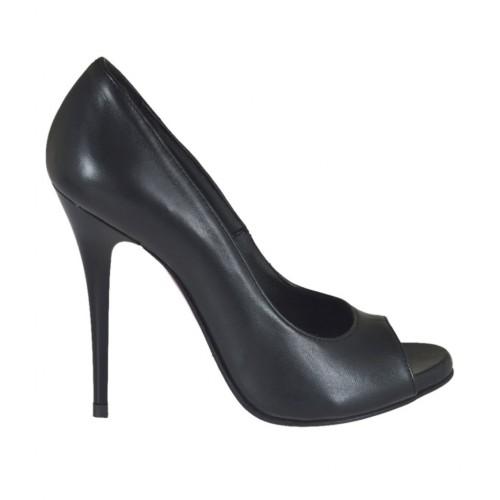 Scarpa da donna aperta in punta con plateau in pelle nera tacco 10 - Misure disponibili: 31, 32, 33, 34, 42, 43, 44, 45, 46, 47