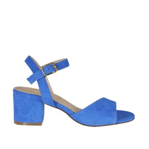 Sandalo da donna con cinturino in camoscio blu tacco 5 - Misure disponibili: 32, 33, 34, 42, 43, 44, 45