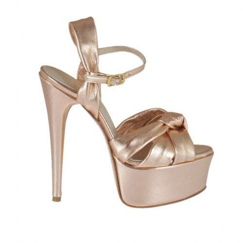 Woman's strap sandal with platform in laminated copper leather heel 13 - Available sizes:  34, 45, 46