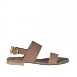 Sandalo da donna in pelle taupe tacco 1 - Misure disponibili: 32