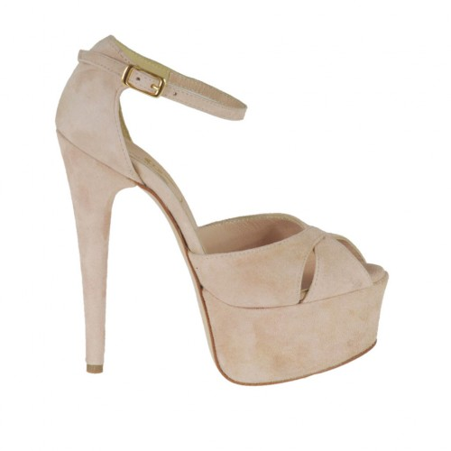 Woman's open strap shoe with platform in pink suede heel 13 - Available sizes:  31, 32, 33, 34