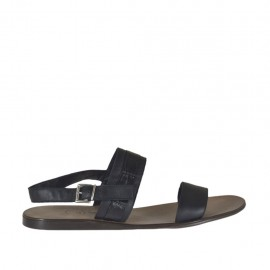 Men's sandal in black leather and printed leather - Available sizes:  46, 47, 48, 49, 51, 52