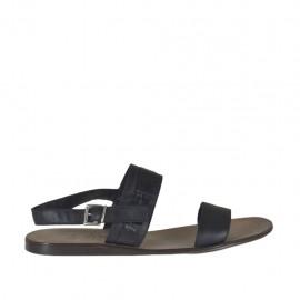 Sandale pour hommes en cuir et cuir imprimé noir - Pointures disponibles:  46, 47, 48, 49, 51, 52