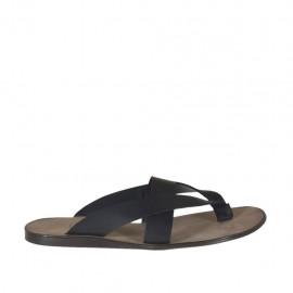 Flip Flops für Herren aus schwarzem Leder  - Verfügbare Größen:  47, 48, 49, 52