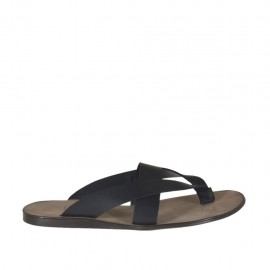 Man's flip-flops in black leather  - Available sizes:  47, 48, 49, 52