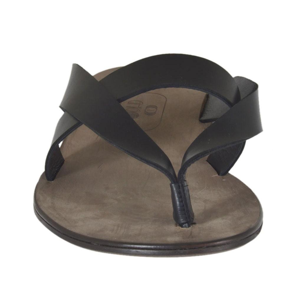 flip flops f r herren aus schwarzem leder ghigocalzature. Black Bedroom Furniture Sets. Home Design Ideas
