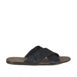 Men's slipper with two bands in black leather - Available sizes:  46, 47, 48, 51, 52