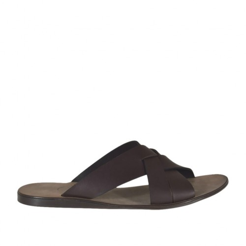 Men's slipper in dark brown leather - Available sizes:  46, 47, 48, 50, 51, 52