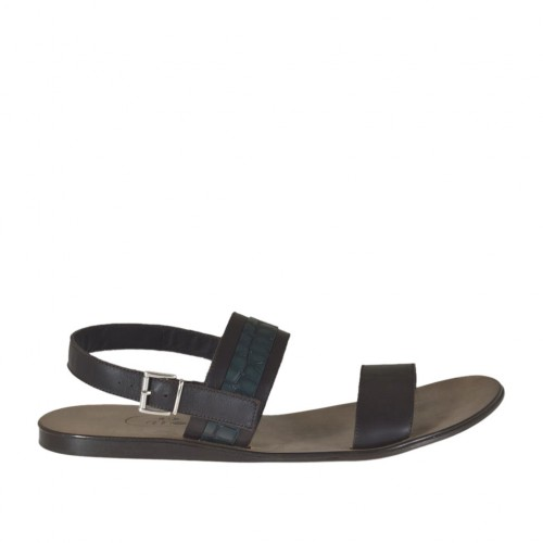 Men's sandal in dark brown leather and green printed leather - Available sizes:  47, 48, 49, 51, 52