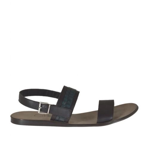 Sandale pour hommes en cuir marron foncé et cuir imprimé vert  - Pointures disponibles:  46, 47, 48, 49, 51, 52