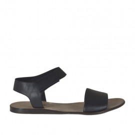 Men's sandal with velcro strap in black leather - Available sizes:  47, 48, 50, 51, 52