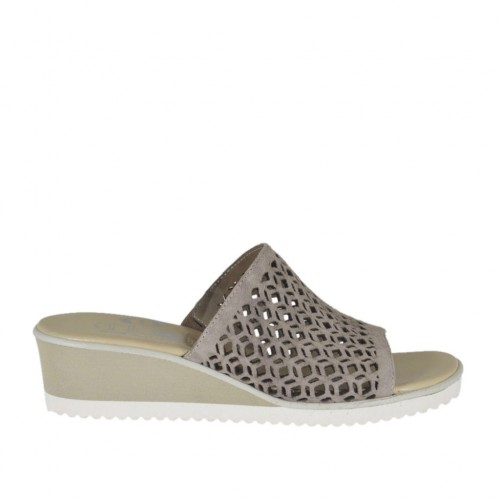 Woman's open mules in taupe pierced suede wedge heel 4 - Available sizes:  32, 33, 34, 42, 43, 44, 45