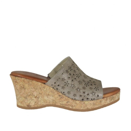Woman's open mules in taupe laminated pierced suede with platform and wedge heel 6 - Available sizes:  42, 43