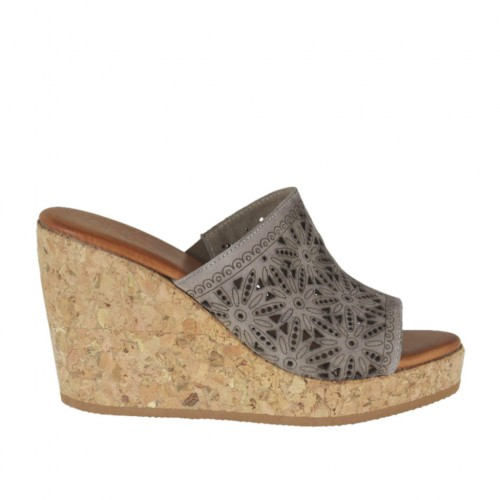 Woman's open mules in taupe pierced suede with platform and wedge heel 8 - Available sizes:  34, 42, 43