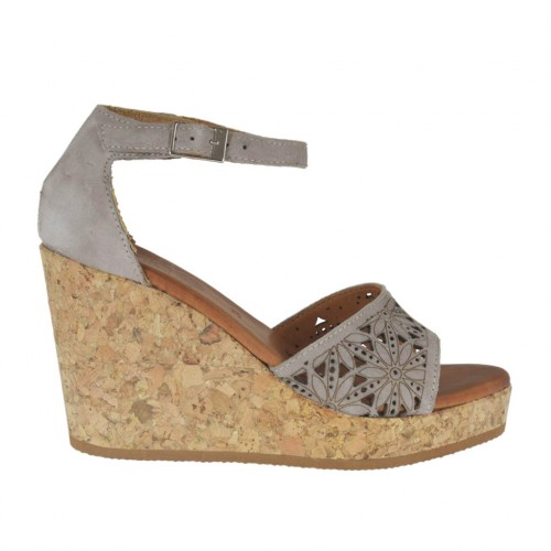 Woman's open shoe with strap and platform in taupe pierced suede and suede wedge heel 8 - Available sizes:  43