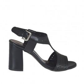 Sandalo da donna in pelle forata nera tacco 7 - Misure disponibili: 32, 33, 34, 42, 43, 44, 45