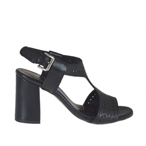 Woman's sandal in black pierced leather heel 7 - Available sizes:  32, 42, 43