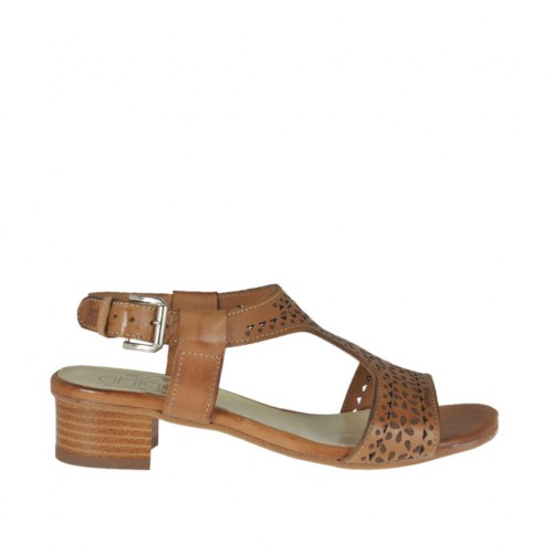 Woman's sandal in tan brown pierced leather heel 3 - Available sizes:  32, 42, 43, 44