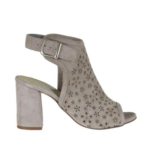 Sandalo accollato da donna in camoscio forato grigio tortora tacco 7 - Misure disponibili: 32, 33, 34, 42, 43, 44