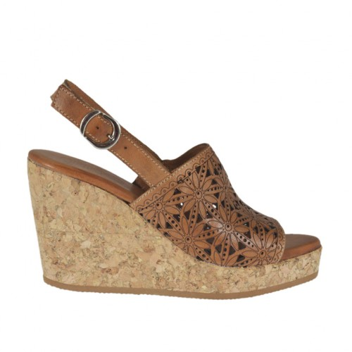 Woman's sandal in tan brown pierced leather with platform and wedge 8 - Available sizes:  42, 43