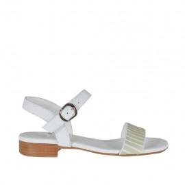 Sandalo da donna con cinturino e applicazioni in pelle bianca tacco 2 - Misure disponibili: 32, 33, 34, 42, 43, 44, 45