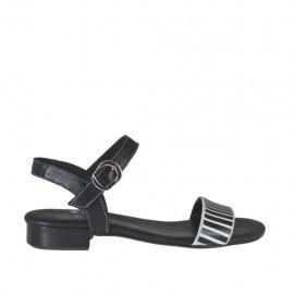 Sandalo da donna con cinturino e applicazioni in pelle nera e bianca tacco 2 - Misure disponibili: 32, 33, 34, 42, 43, 44, 45