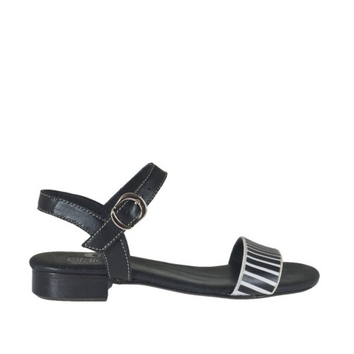 Woman's strap sandal with appliqué in white and black leather heel 2 - Available sizes:  32