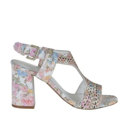 Sandalo da donna in pelle forata stampata floreale multicolore tacco 7 - Misure disponibili: 42, 43, 44