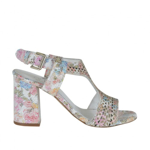 Woman's sandal in pierced floral printed multicolored leather heel 7 - Available sizes:  42, 43, 44