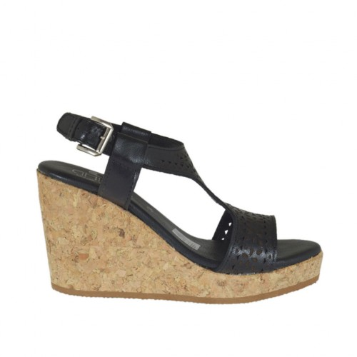 Woman's sandal in black pierced leather with platform and wedge 8 - Available sizes:  44