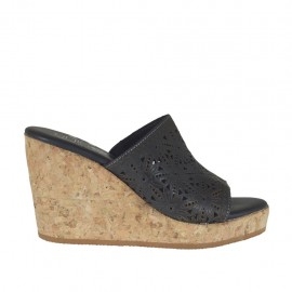Woman's open mules in black pierced leather with platform and wedge heel 8 - Available sizes:  34, 42, 43