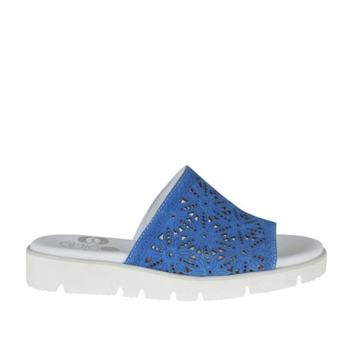 Woman's open mules in blue pierced suede wedge heel 2 - Available sizes:  32, 34, 42, 43