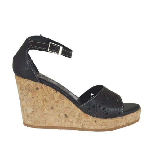 Woman's open shoe with strap and platform in black pierced leather wedge heel 8 - Available sizes:  34, 43, 44, 45