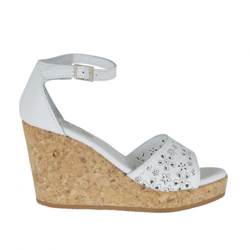 Woman's open shoe with strap and platform in white pierced leather wedge heel 8 - Available sizes:  42, 43, 44, 45