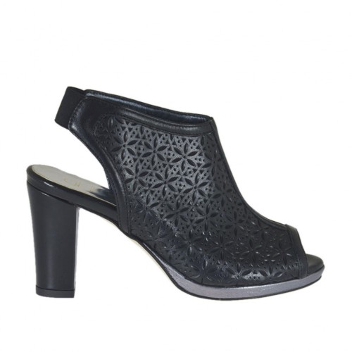 Woman's highfronted sandal with elastic and platform in black pierced leather heel 8 - Available sizes:  42