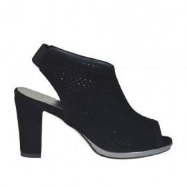 Sandalo accollato da donna con elastico e plateau in camoscio forato nero tacco 8 - Misure disponibili: 32, 33, 34, 42, 43, 44, 45
