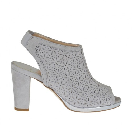 Woman's highfronted sandal with elastic and platform in grey pierced suede heel 8 - Available sizes:  32, 34, 43, 44, 45