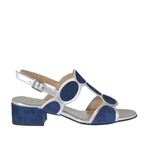 Sandalo da donna in camoscio blu e pelle laminata argento tacco 3 - Misure disponibili: 32, 33