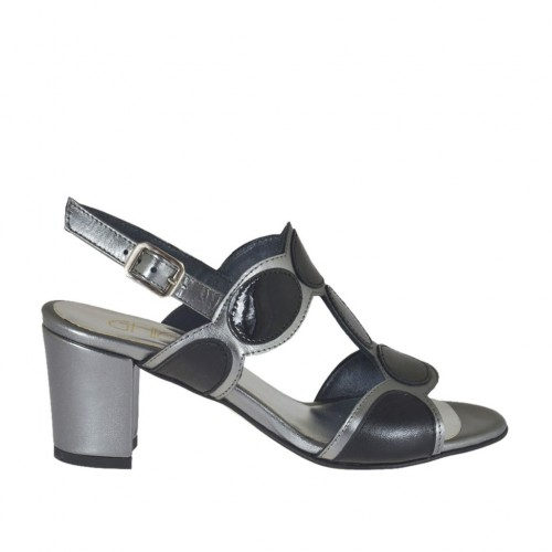 Woman's sandal in black leather and patent leather and gunmetal laminated leather heel 6 - Available sizes:  32, 43