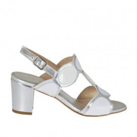 Woman's sandal in white leather and patent leather and silver laminated leather heel 6 - Available sizes:  42, 44, 45