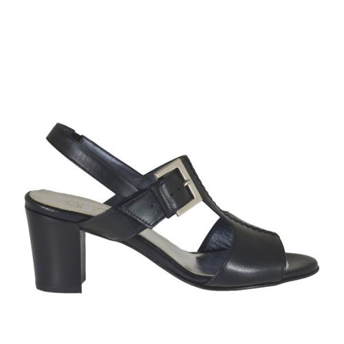 Sandalo con elastico e fibbia da donna in pelle nera tacco 6 - Misure disponibili: 32, 33, 34, 42, 43, 44, 45