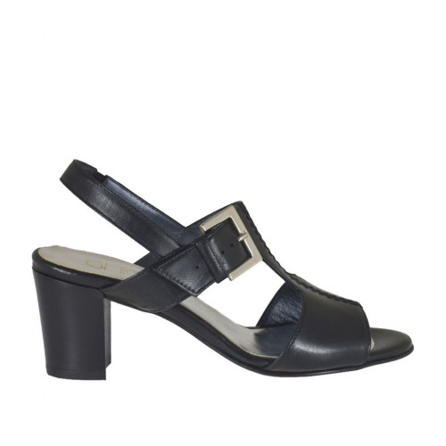 Woman's sandal with elastic and buckle in black leather heel 6 - Available sizes:  42