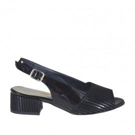 Sandalo da donna in vernice e camoscio nero a righe tacco 3 - Misure disponibili: 32, 33, 34, 42, 43, 44, 45