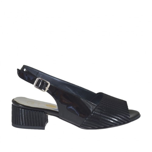 Woman's sandal in striped black patent leather and suede heel 3 - Available sizes:  32, 43