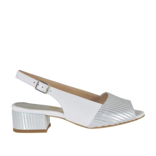 Sandale pour femmes en cuir blanc et daim gris à rayures argent talon 3 - Pointures disponibles:  33, 34, 44, 45