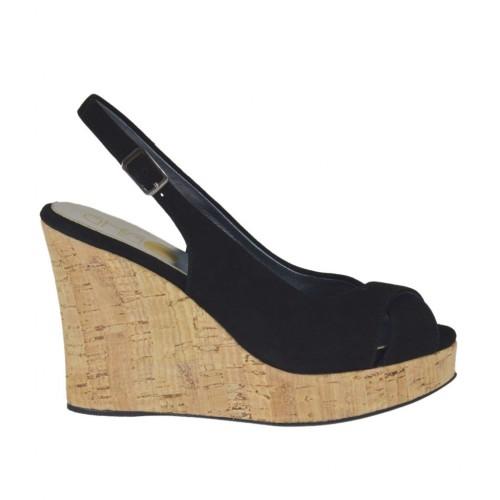 Sandale pour femmes en daim noir talon compensé 10 - Pointures disponibles:  32, 33, 42