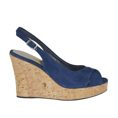 Woman's sandal in blue suede wedge heel 10 - Available sizes:  31, 32, 33, 42, 44