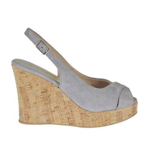 Woman's sandal in grey suede wedge heel 10 - Available sizes:  31, 32, 33, 34, 42, 44, 45