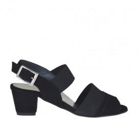 Sandalo da donna con elastici in camoscio nero tacco 4 - Misure disponibili: 32, 33, 34, 42, 43, 44, 45