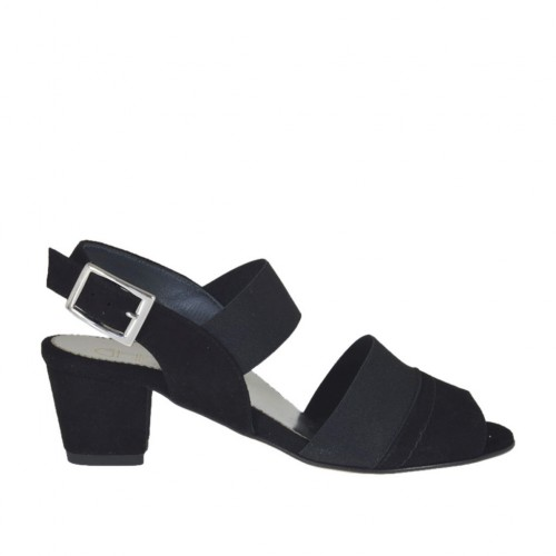Woman's sandal with elastic bands in black suede heel 4 - Available sizes:  32